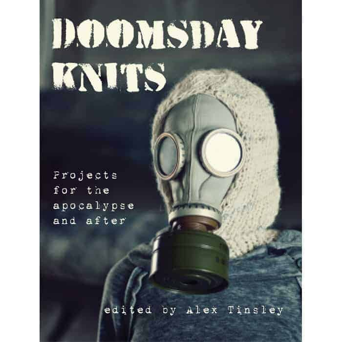 A person wears a balaclava and a gas mask on the cover of Doomsday Knits.