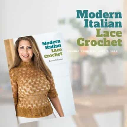 A woman models a gold crocheted sweater on the cover of Modern Lace Italian Crochet.
