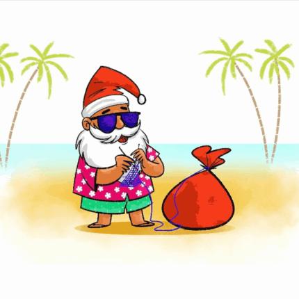 A cartoon Santa Claus knits on a beach.
