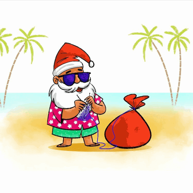 A cartoon Santa Claus knits on a beach.