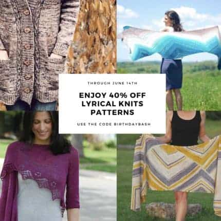 A collage of sweaters and shawls and the words Enjoy 40% off Lyrical Knits patterns.