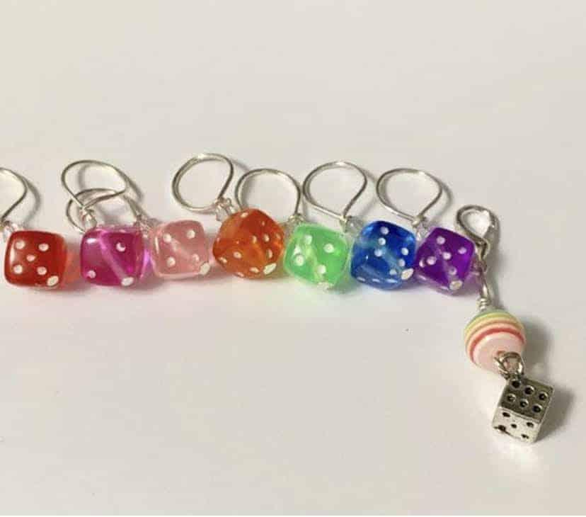 Rainbow die stitch markers.