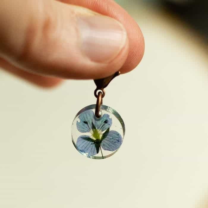 A blue flower in clear resin.