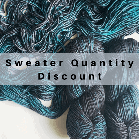 Gray, purple and teal yarn with the words Sweater Quantity Discount.