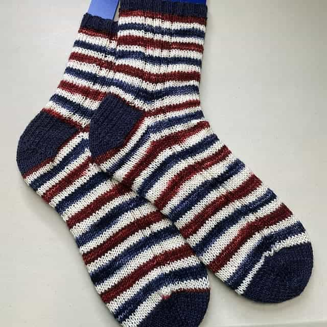 Red, white and blue striped socks.