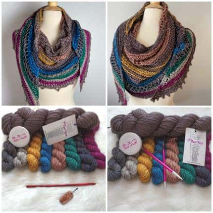 A brown, gray, gold, blue, green and purple shawl with accompanying yarn.
