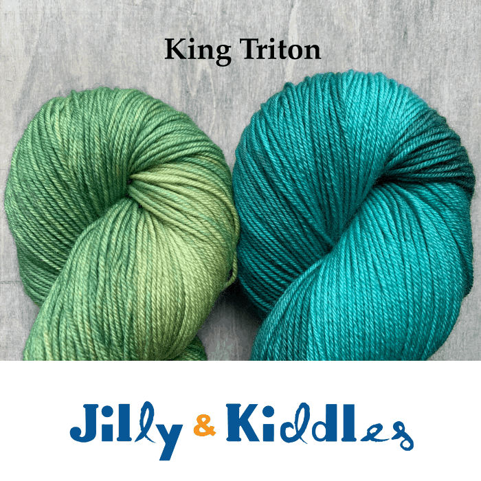 Green and teal yarn with the words King Triton Jilly & Kiddles.
