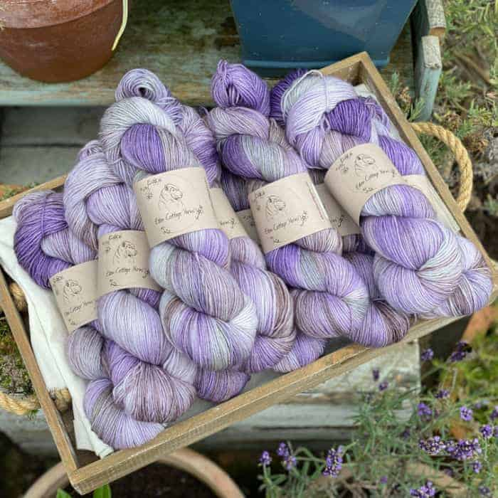 A pile of purple sock yarn.