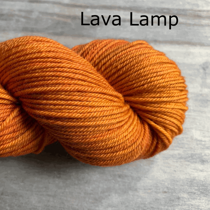 Orange yarn and the words Lava Lamp.