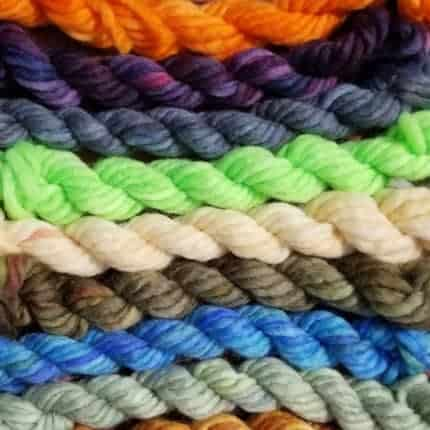 Skeins of brightly colored hand-dyed yarn.