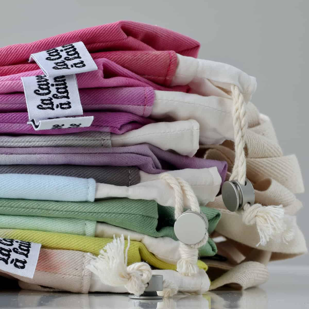 A stack of colorful bags.