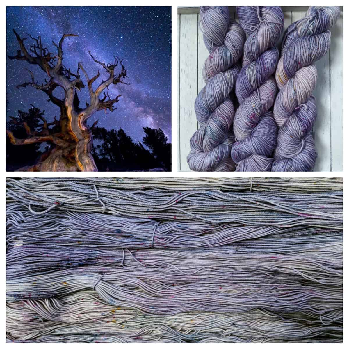 A gnarled tree under stars and purple speckled yarn.
