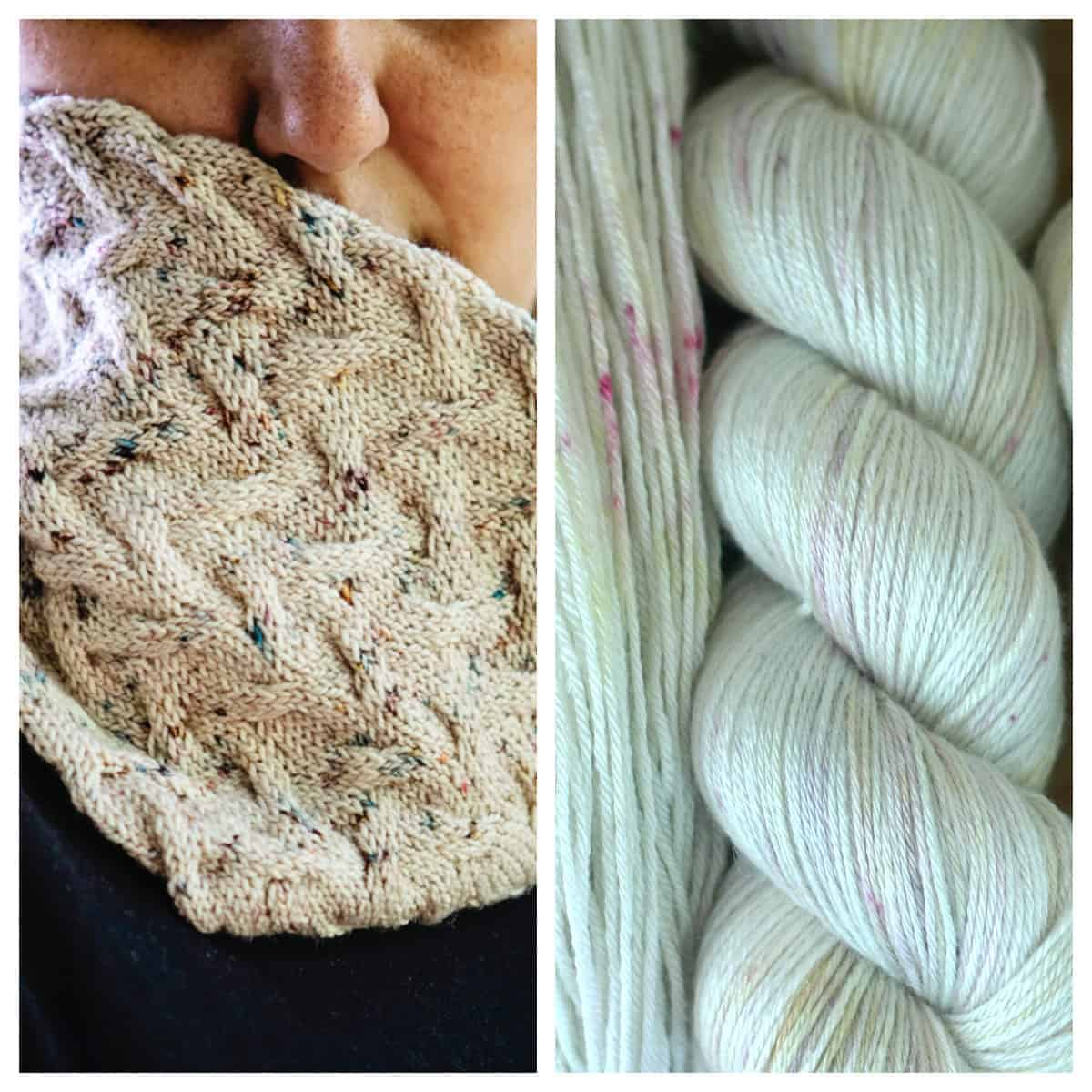 A lightly speckled cabled cowl and lightly speckled yarn.