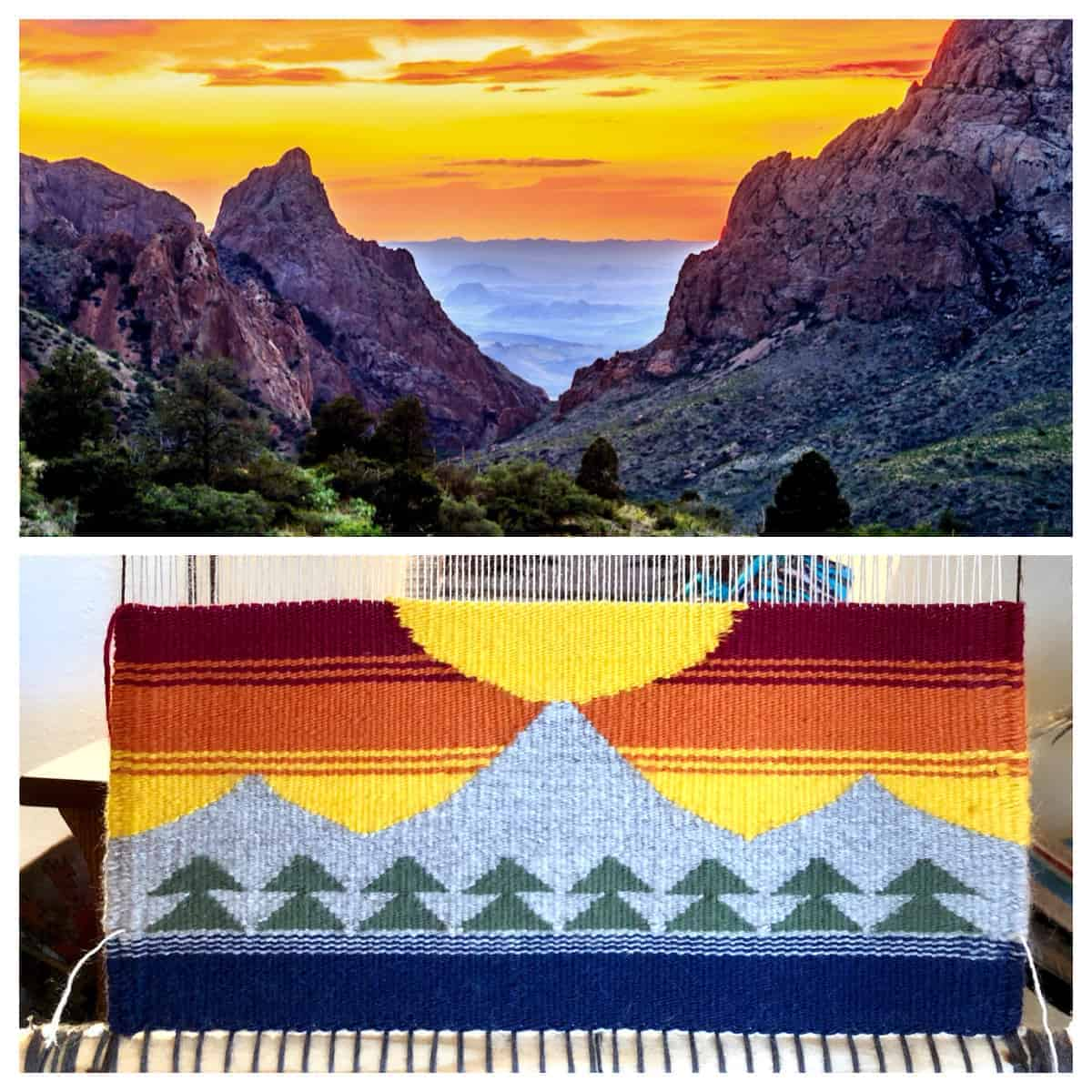 A red and yellow sunset through mountains and a weaving project that echoes the scene.