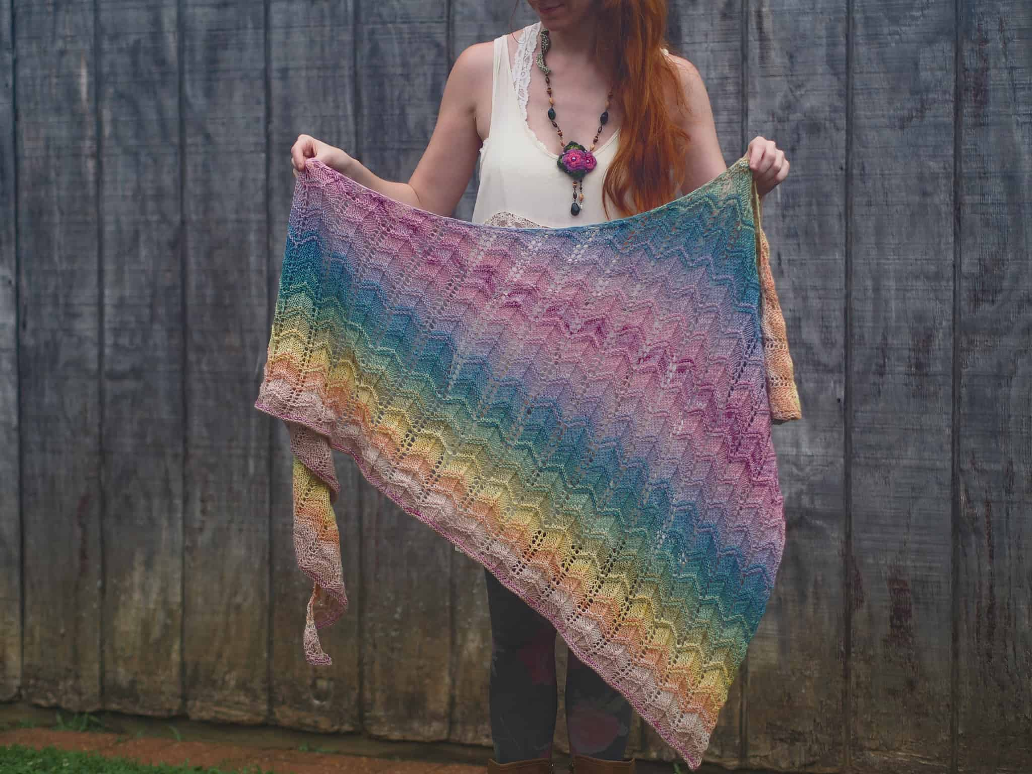 A multicolored striped shawl.
