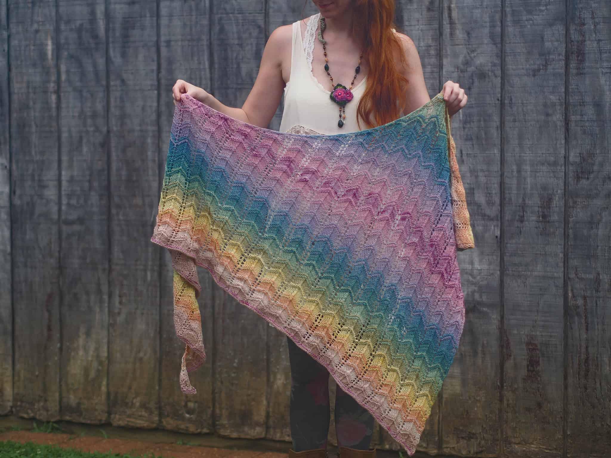 A multicolored striped shawl.