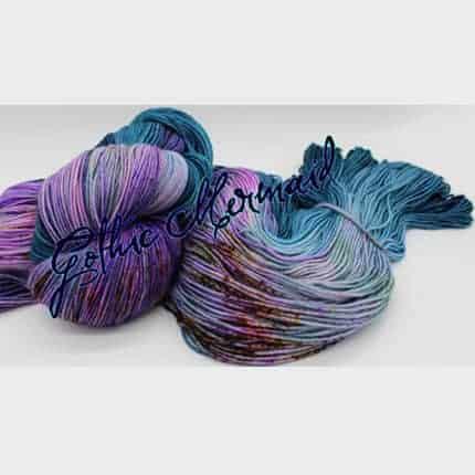 Purple and teal variegated yarn.