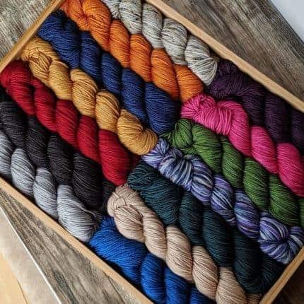 A box of colorful yarn.