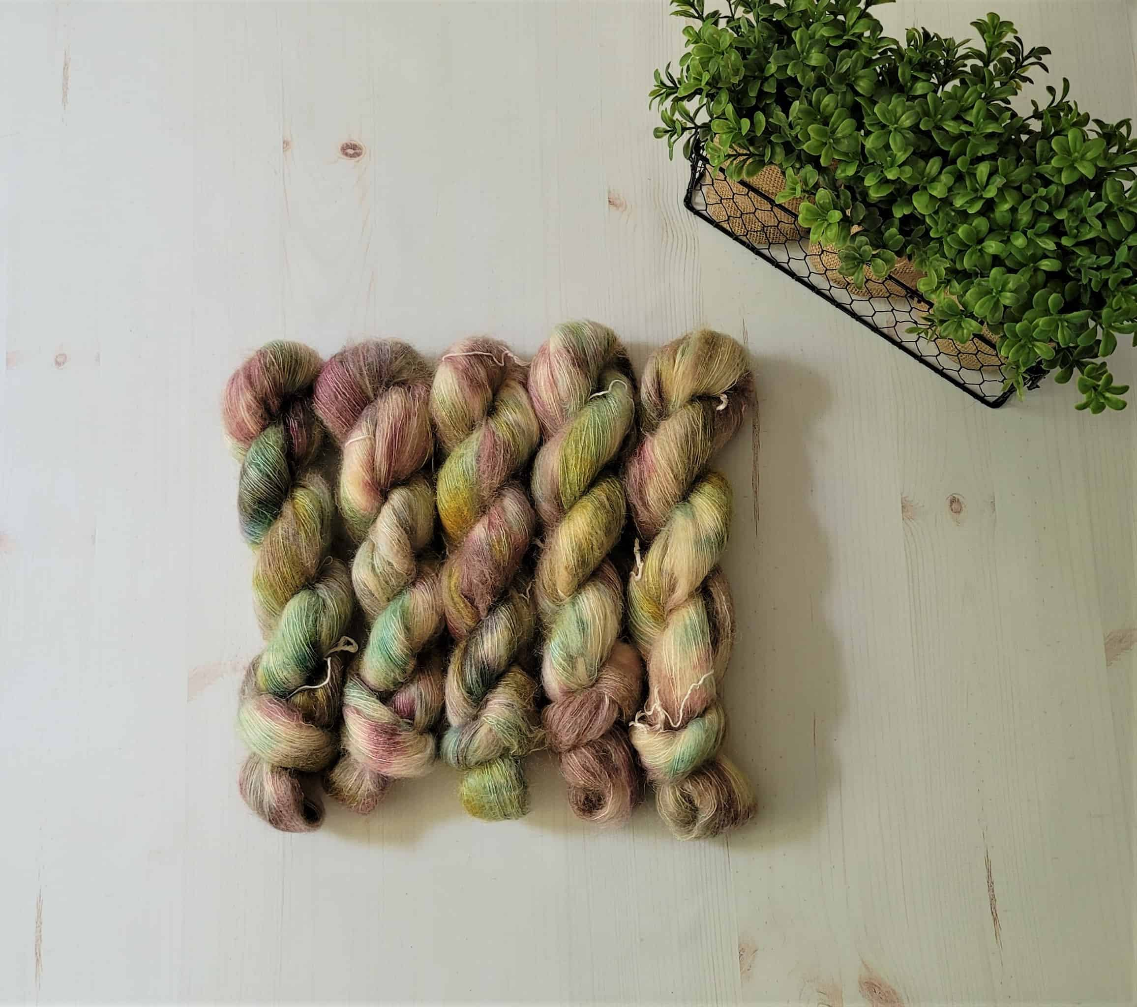 Pink and green speckled yarn.