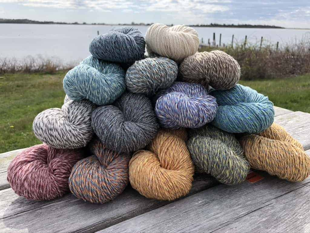 A pile of marled yarn.
