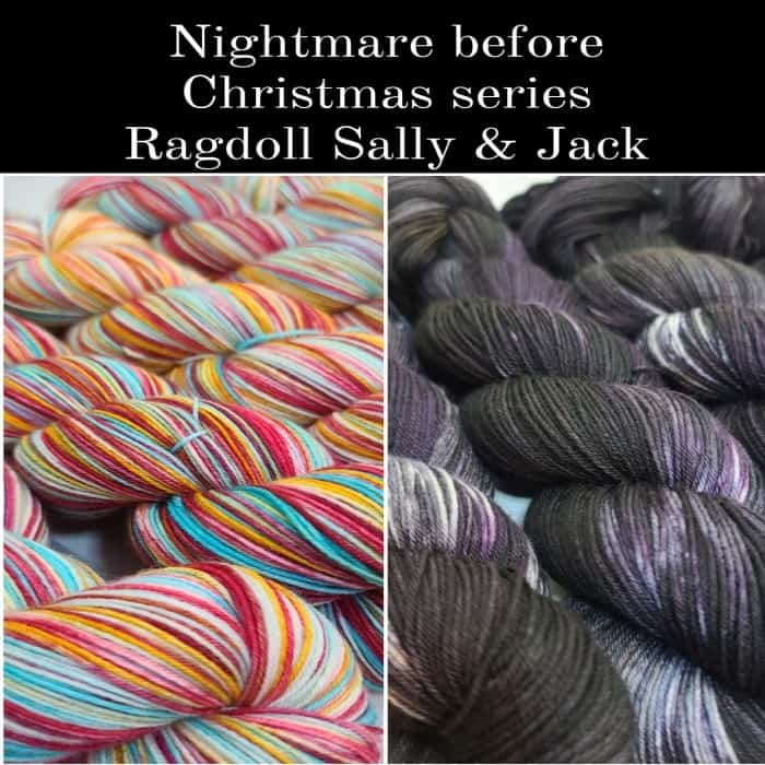 Red, blue and orange and black and purple yarn.