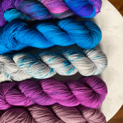 Blue and pink yarn.