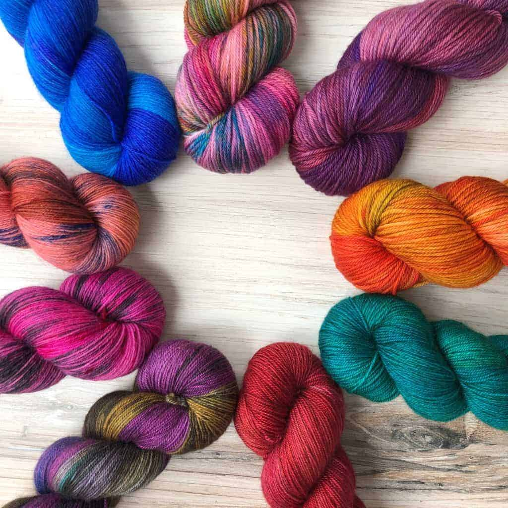 Colorful Yarn arranged in a circle.