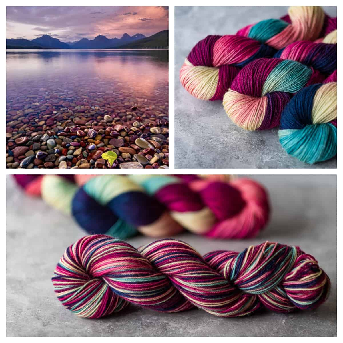 A collage with a lake and pink and teal yarn.