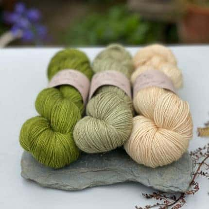 Green, mint and cream yarn.