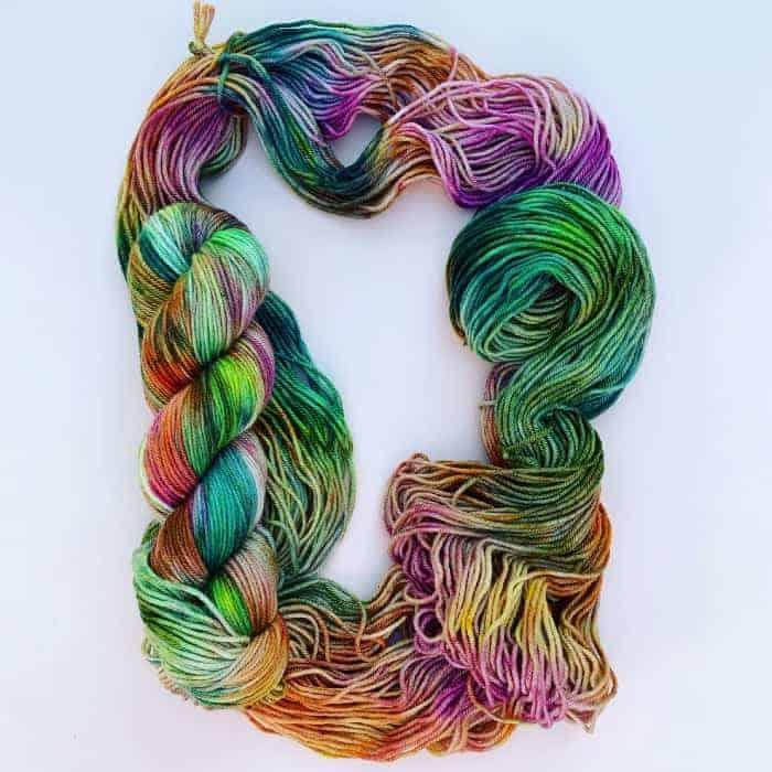 Green, purple and orange yarn.