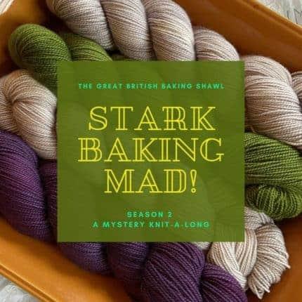 Purple, cream and green yarn.