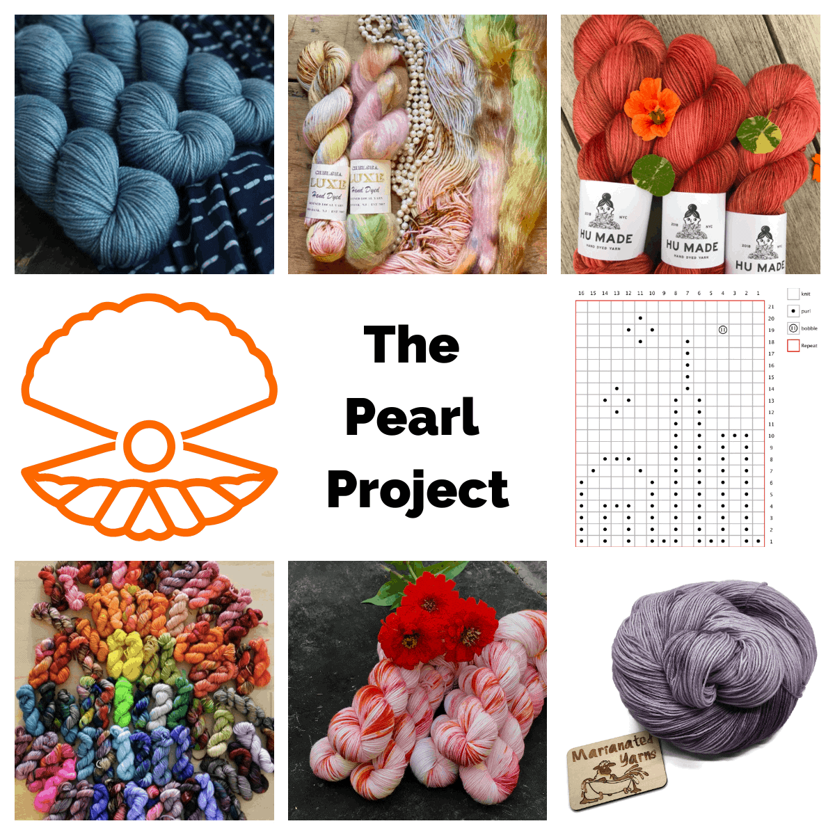 A collage of colorful yarn and an orange oyster with a pearl.