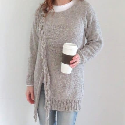 A long taupe cardigan.