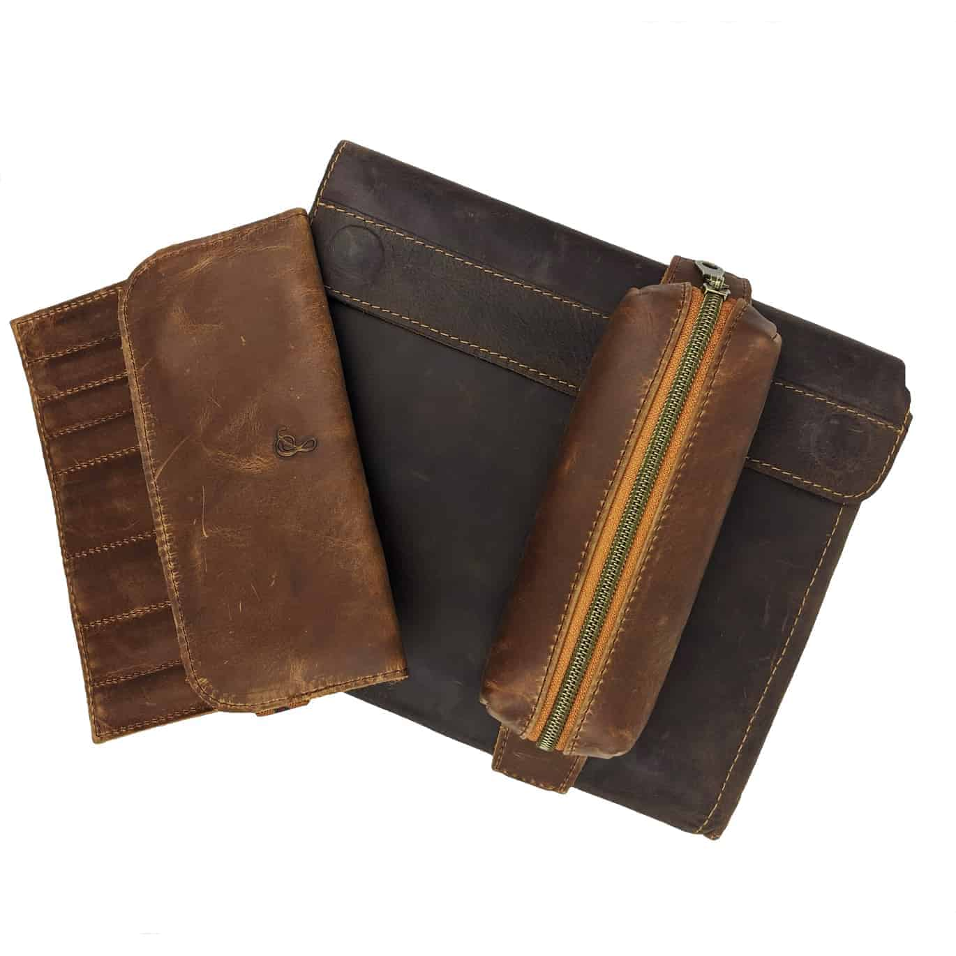 Brown leather cases.