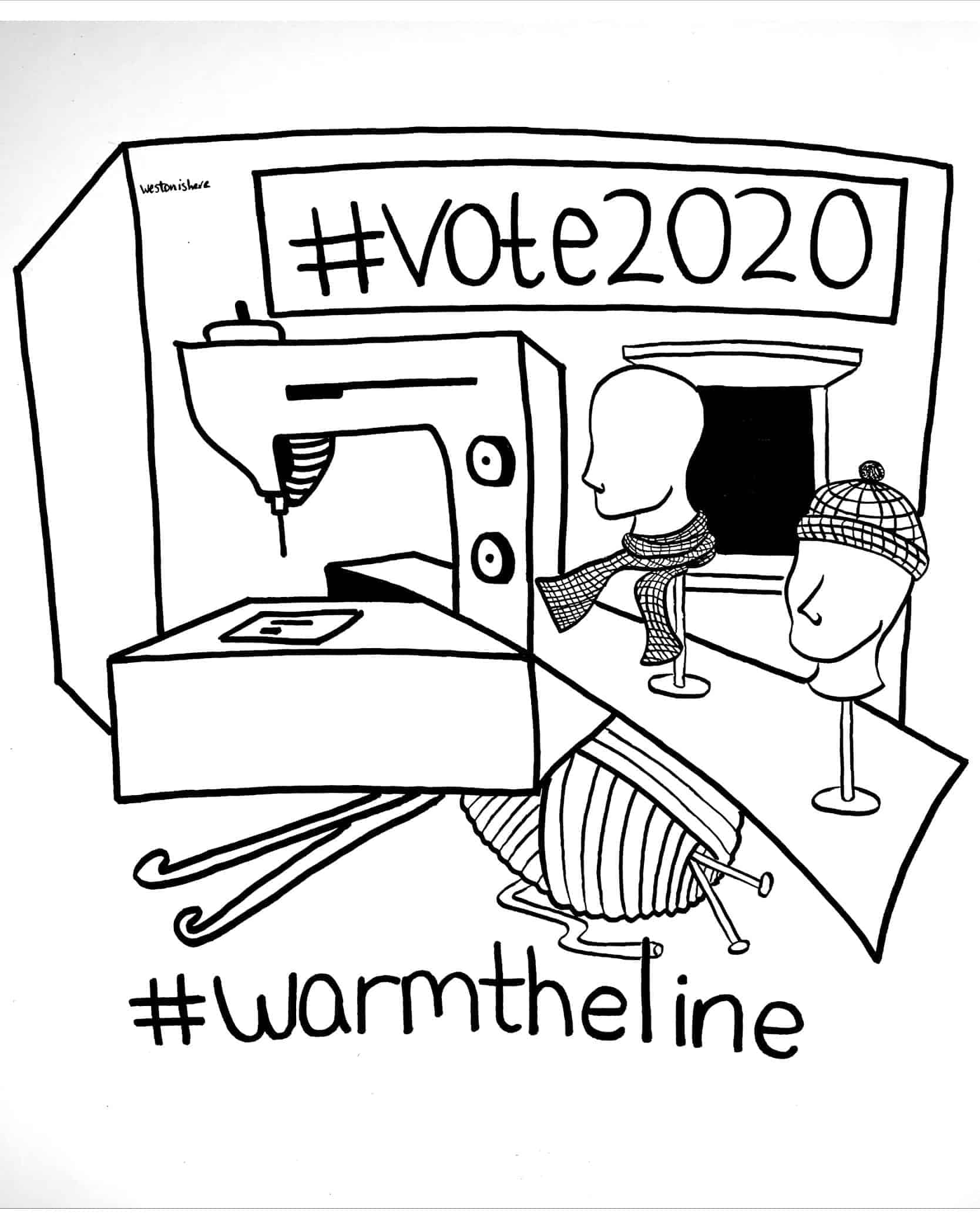 A sewing machine illustration that reads #vote2020 and #warmtheline