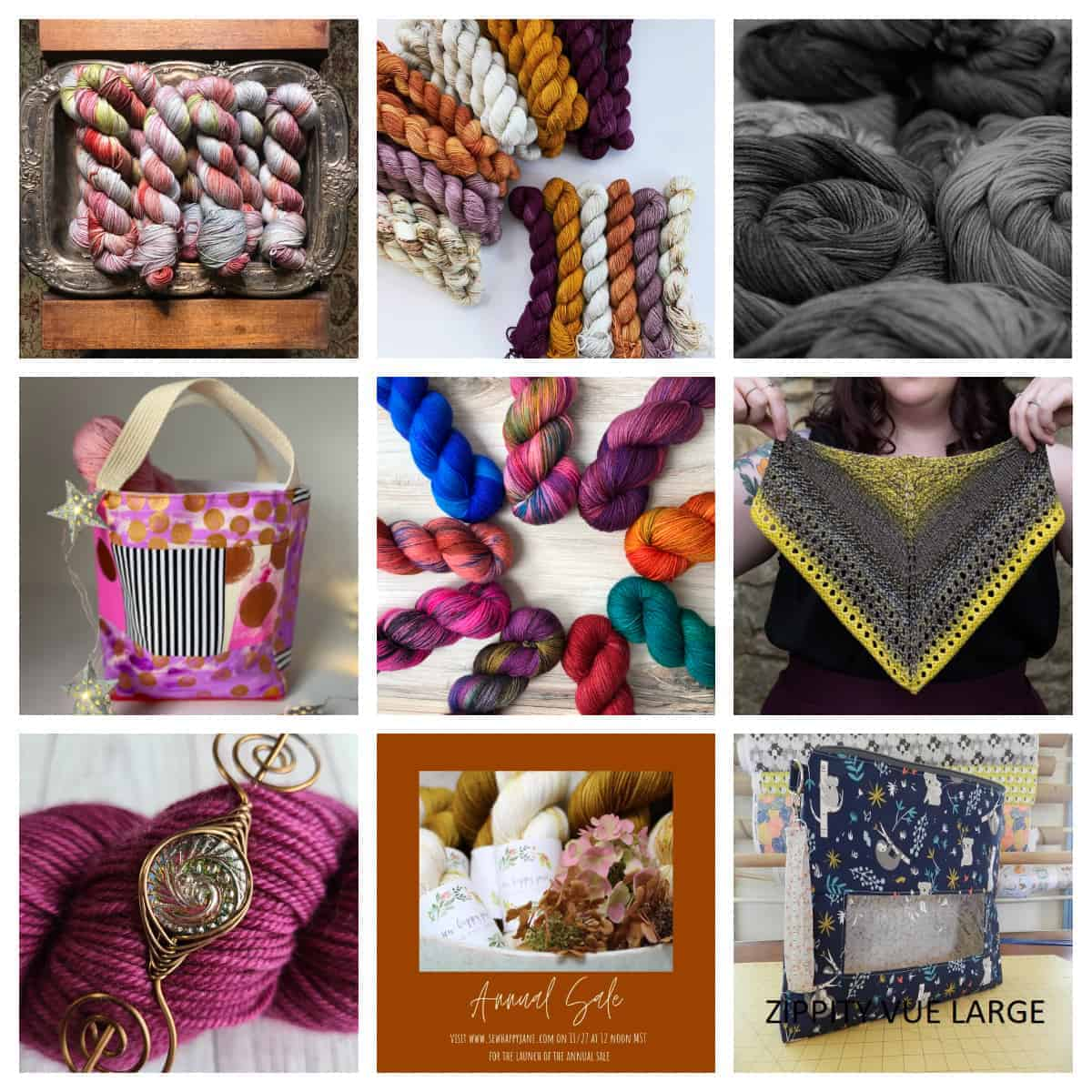 A collage of yarn and bags.