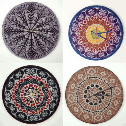 Circular knitted colorwork clocks.