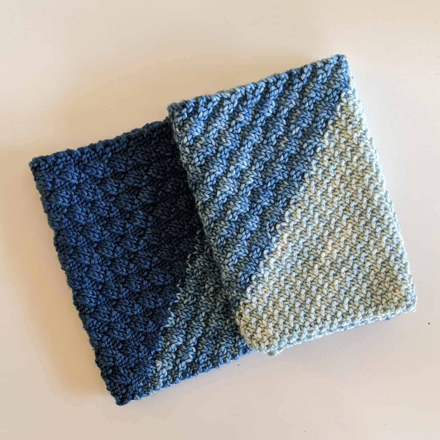 A textured cowl in shades of blue.