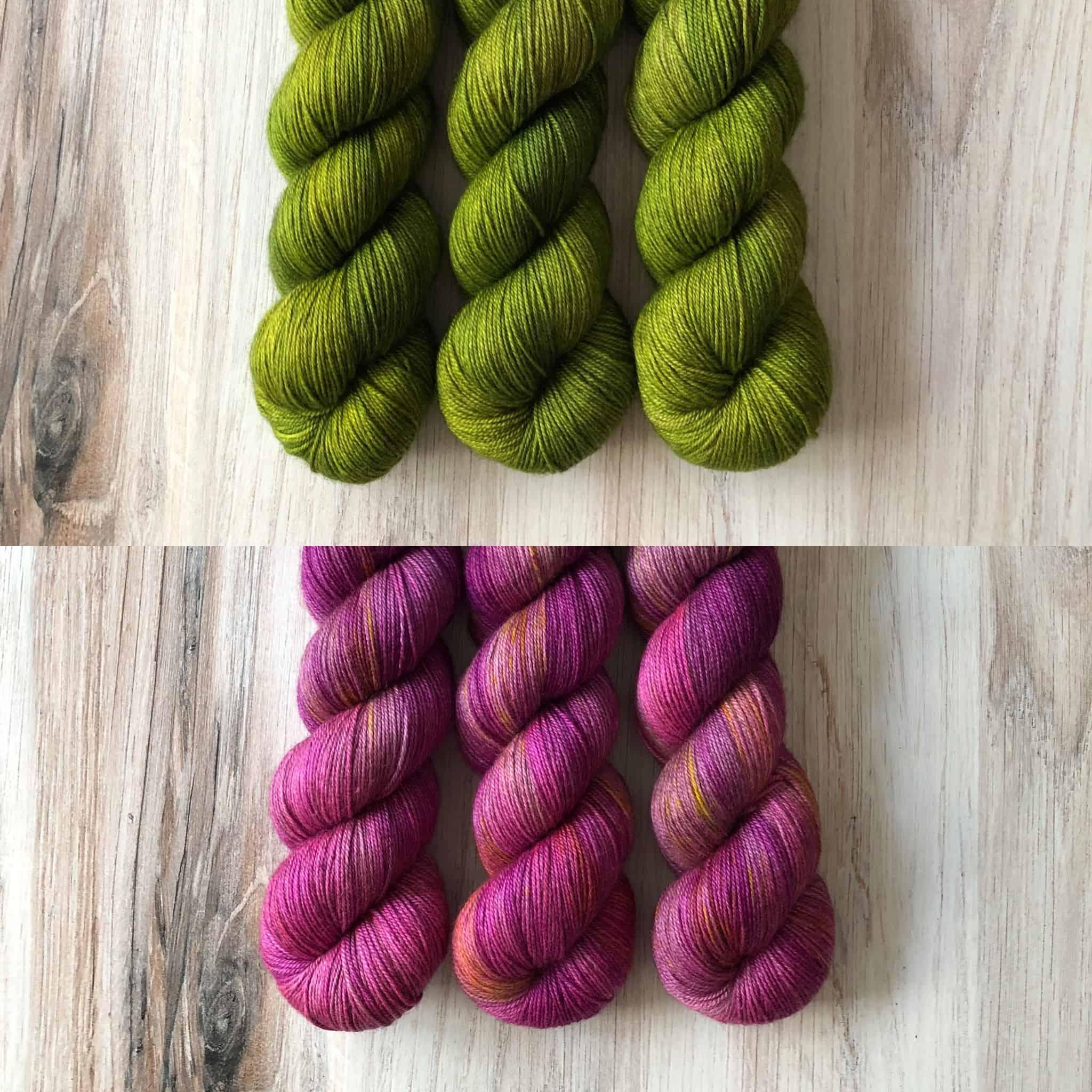 Green and pink yarn.