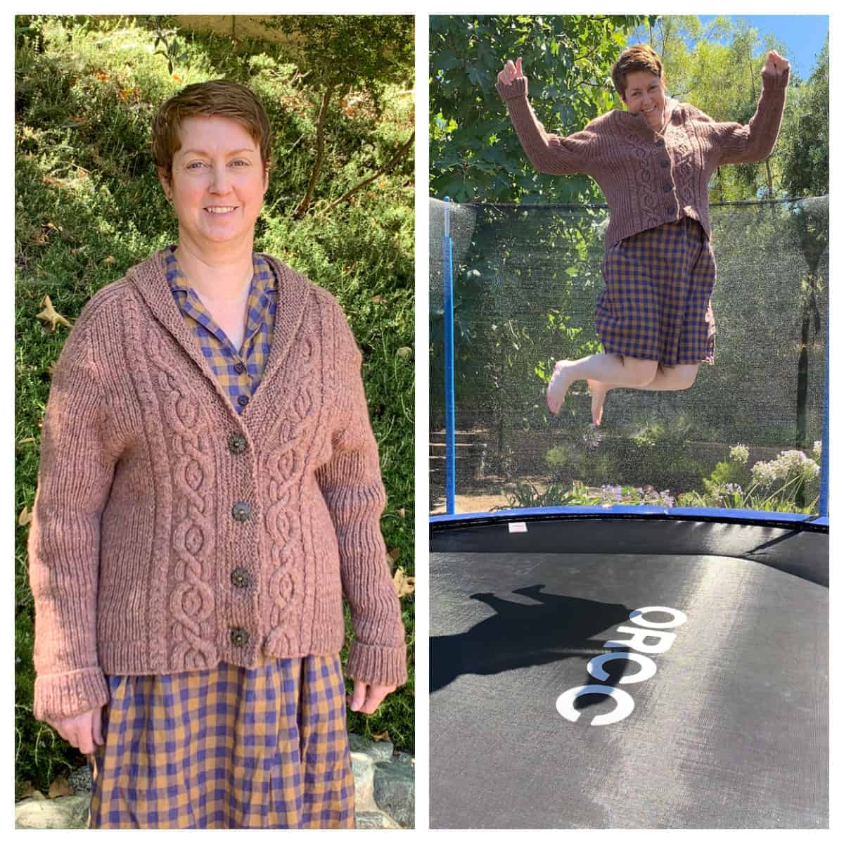 A woman wearing a brown cabled sweater, jumping on a trampoline.