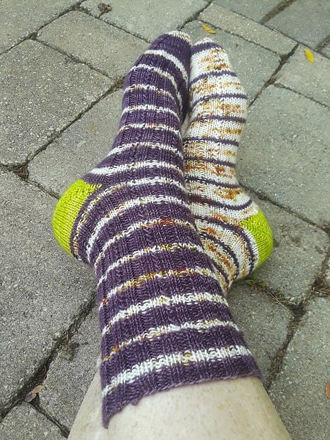Purple striped socks.