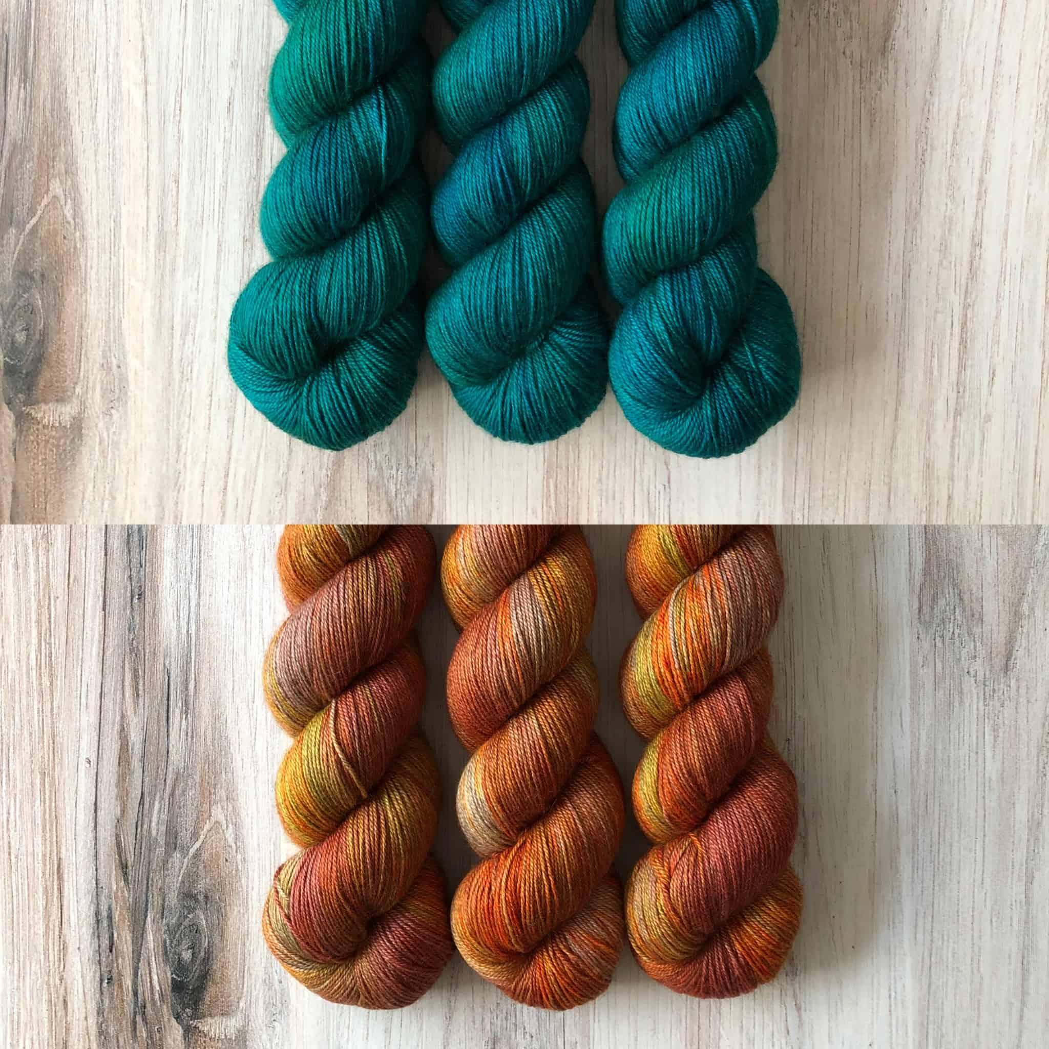 Teal and orange yarn.