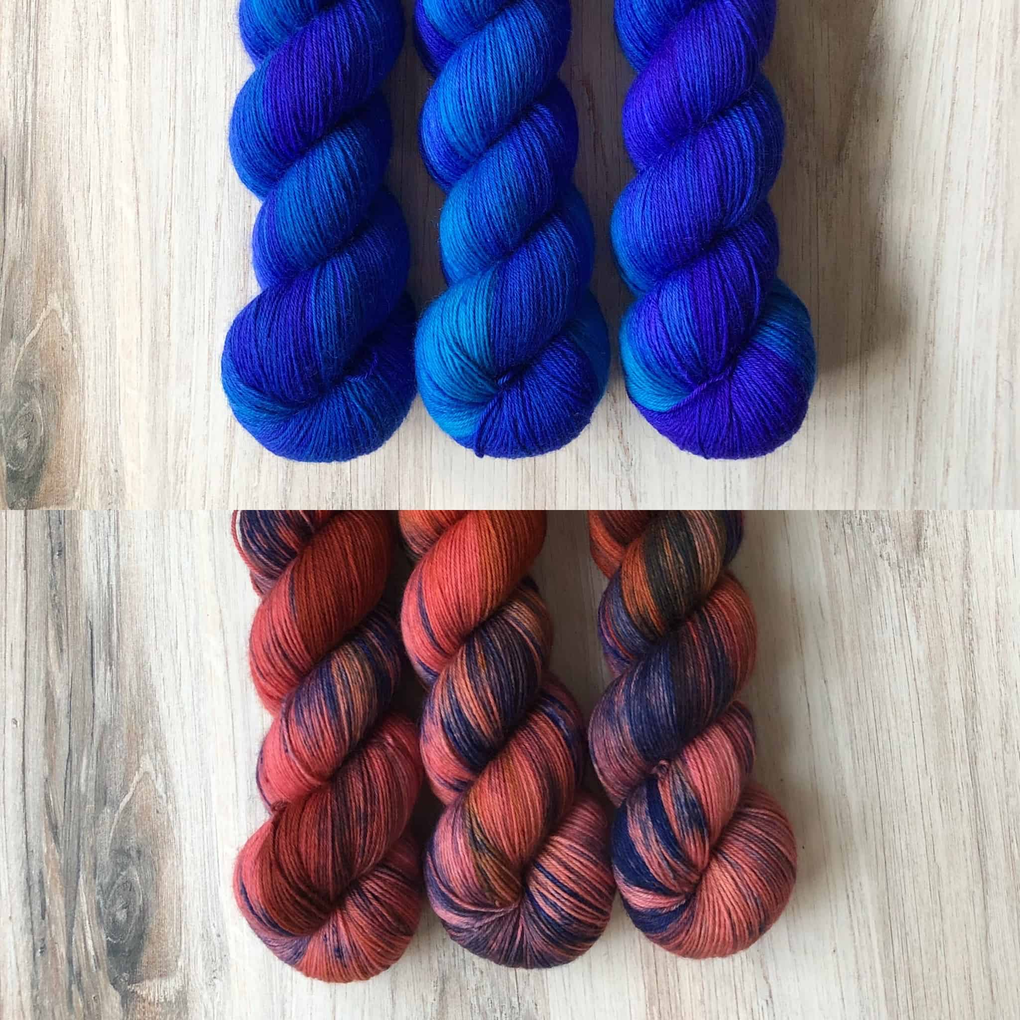 Blue and red yarn.