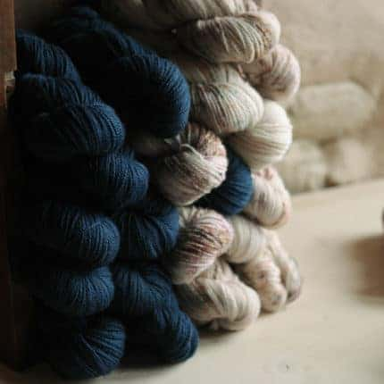 Blue and white speckled yarn.