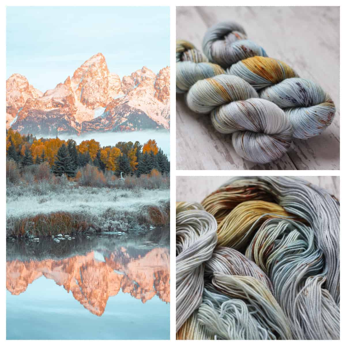 A golden mountain reflected in a lake, and light blue yarn speckled with gold and purple.