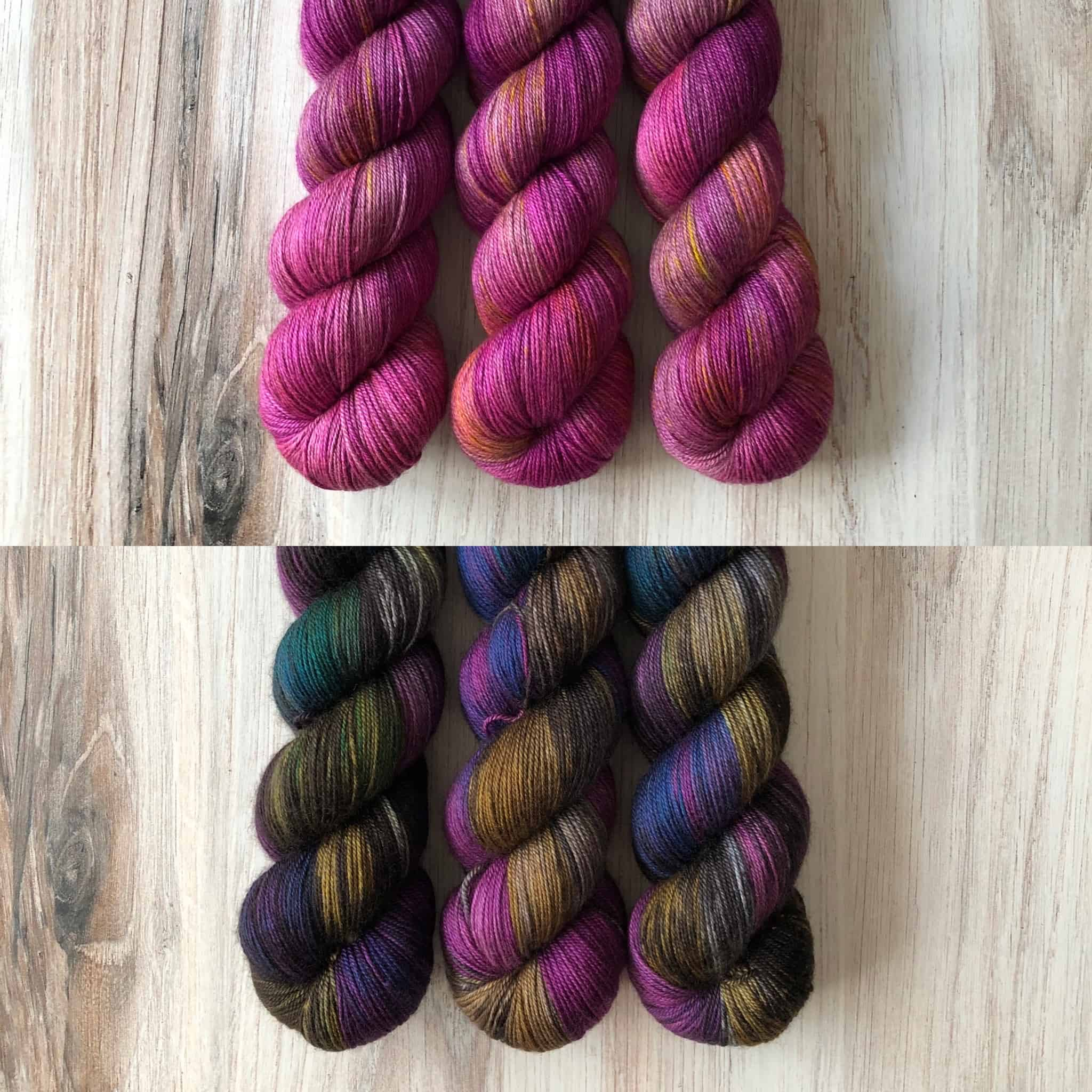 Pink and black and gold speckled yarn.