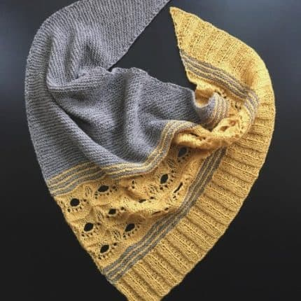 A gray and yellow shawl.