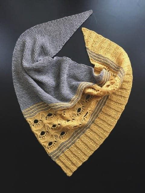 A gray and yellow shawl.