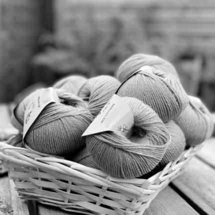 A basket of yarn in black and white.
