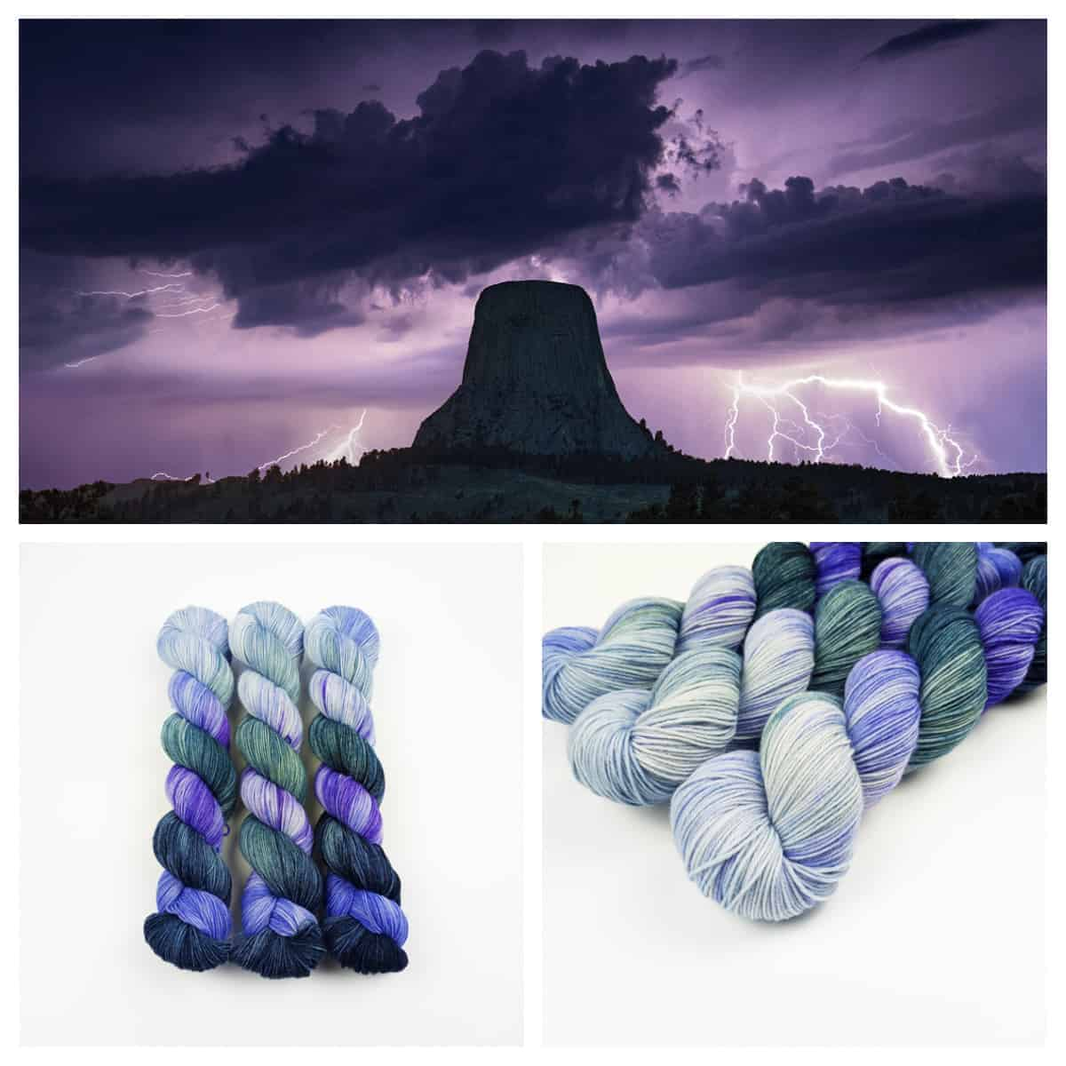 Lighting strikes Devils Tower and purple and green yarn.